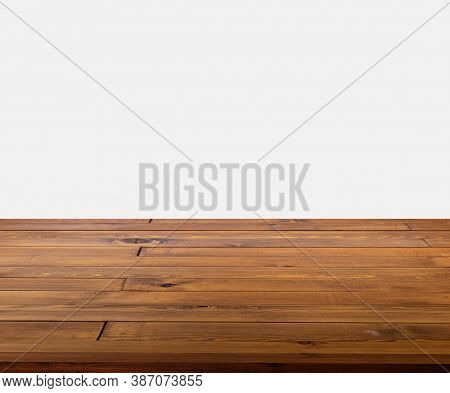 Isolated Beautiful Brown Plank Wooden Table Or Desk On White Background, Little Shiny Surface, Persp