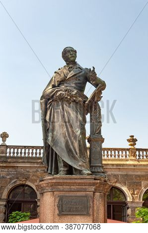 Dresden, Germany - July 26, 2019: Monument To Carl Maria Von Weber (1786-1826), German Composer, Con