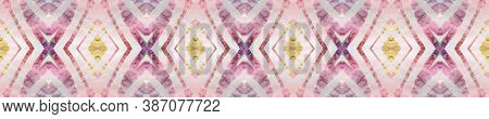 Aztec Rugs. Abstract Ethnic Print. Pastel Brown, Pink Blue Seamless Texture. Seamless Tie Dye Illust