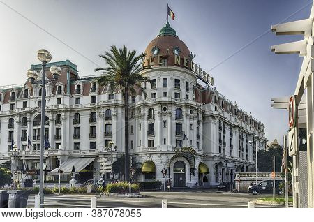 Nice, France - August 11: The Iconic Luxury Hotel Negresco, Located On The Promenade Des Anglais, Ni