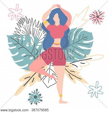Woman In A Tree Pose Vrikshasana On The Background Of Monstera Leaves. Yoga, Concept Of Meditation,