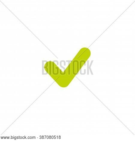 Valid Seal Icon. Check Mark. Green Tick. Flat Ok Sticker. Isolated On White. Accept, Agreed, Done Bu