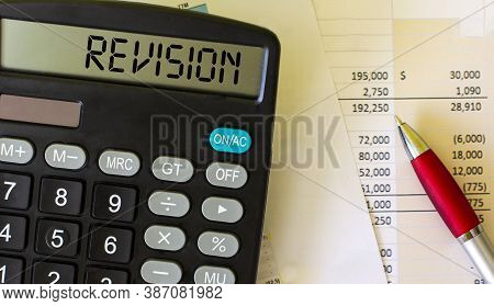 Revision, Text On The Calculator. Graphs And Pen On White Background