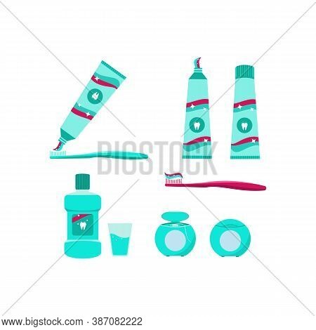 Products For Oral Hygiene And Dental Health. Toothbrush, Toothpaste, Mouthwash, Glass With Mouthwash