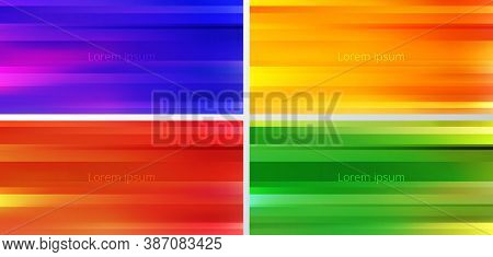Set Of Abstract Yellow, Blue, Red, Green And Orange Gradient Color Blurred Motion Background. Stripe