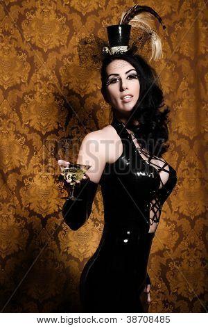 Sexy Retro Cabaret - Glamorous Vixen with Vintage Glass