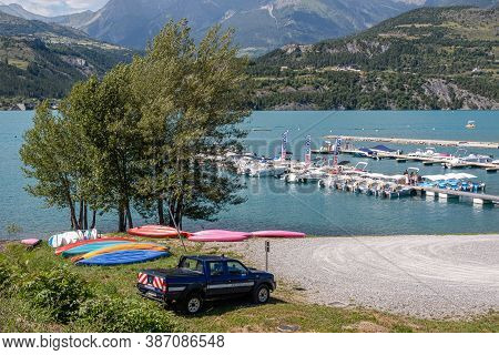 Savines Le Lac, France - July 7, 2020: Boat Rental On Lake Serre Poncon At Savines Le Lac