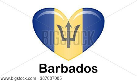 Illustration Flag Of Barbados For Continue, Flag Of Barbados Isolated On White Background.