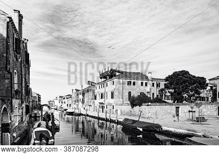 Deserted Venice In Black And White. Museum City Is Situated Across A Group Of Islands That Are Separ