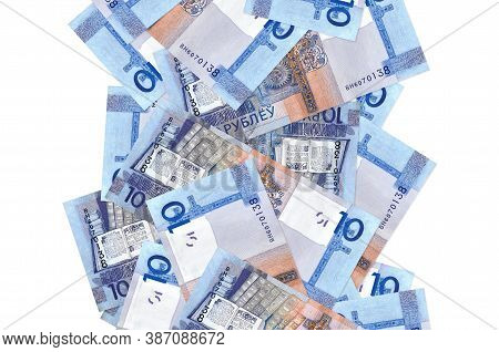 10 Belorussian Rubles Bills Flying Down Isolated On White. Many Banknotes Falling With White Copyspa