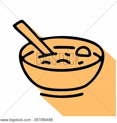 Soup Bowl With Spoon Flat Line Icon. Vector Thin Sign, Illustration Of Lunch For Restaurant Menu