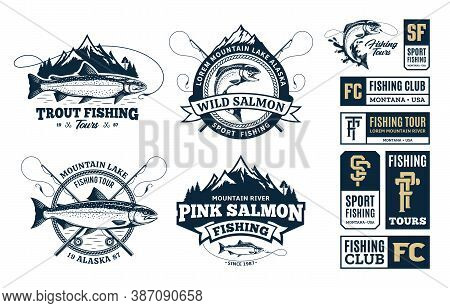Set Of Vector Fishing Logo, Badges And Design Elements