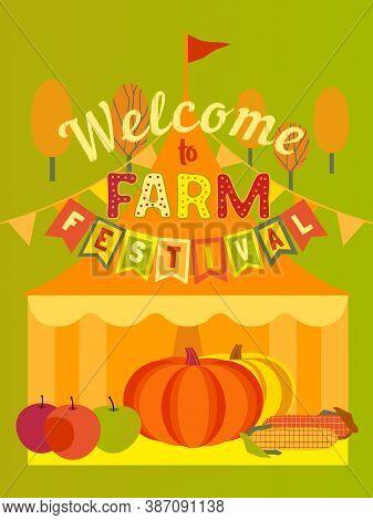 Hand Drawn Farm Fall Festival Flat Color Vector Poster. Agricultural Fair Cartoon Design Element Ill