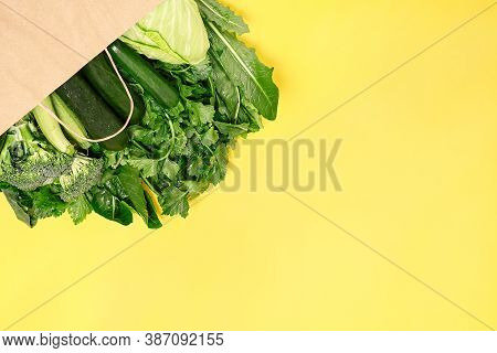 Food Vegetable In Eco Grocery Bag On Yellow Background