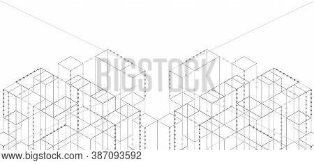 Hi-tech Digital Technology And Engineering, Digital Telecom Technology Concept. Technical Drawing. V