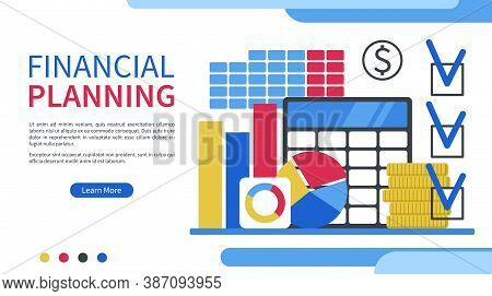 Financial Planning Concept. Calculating Business Income And Expenses. Web Page Template. Flat Design