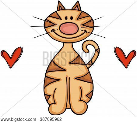 Scalable Vectorial Representing A Cute Cat With Two Red Hearts, Element For Design, Illustration Iso