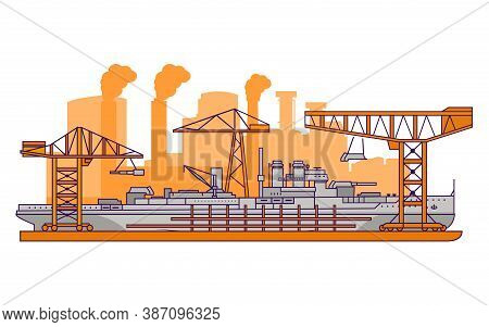 Military Shipyard Factory.warship Flat Line Art Vector.