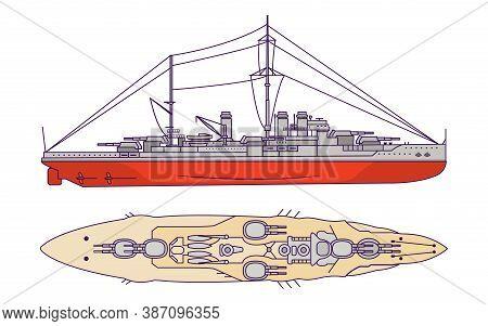 Battleship Of The First World War And World War Ii. Combat Naval Artillery Ship.
