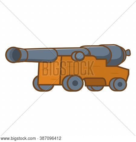 Medieval Cannon Icon. Artillery Ancient Weapon. Vector Flat Illustration.