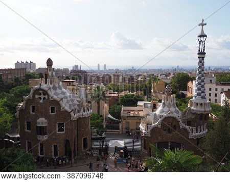 Barcelona, Spain On September 2019: Famous Townscape Of European City At Catalonia District And Chim