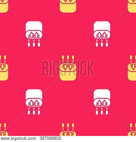 Yellow Cotton Swab For Ears Icon Isolated Seamless Pattern On Red Background. Vector Illustration