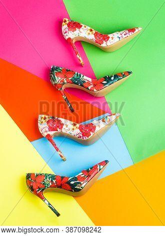 Stylish Classic Women Leather Shoe. Colorful Leather Shoes Stiletto. Bright Colored Women Shoes. Bea