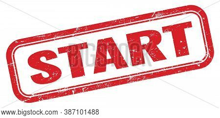 Start Red Grungy Vintage Rectangle Stamp Sign.
