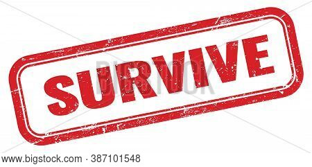 Survive Red Grungy Vintage Rectangle Stamp Sign.