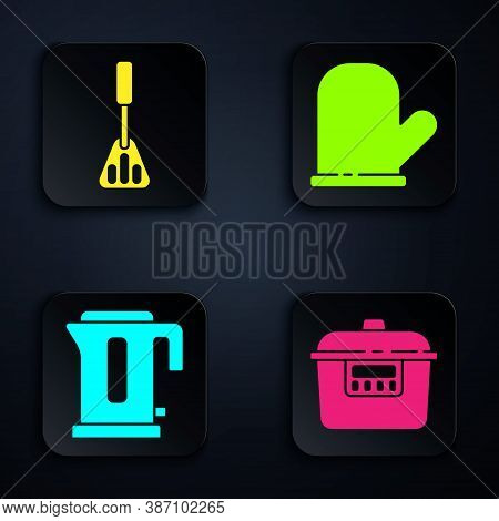 Set Slow Cooker, Spatula, Electric Kettle And Oven Glove. Black Square Button. Vector