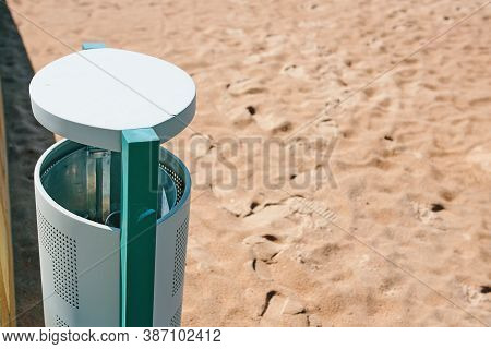 Stationary Iron Tank For Waste. Maintaining Cleanliness In The Recreation Area Of People. Trash Can