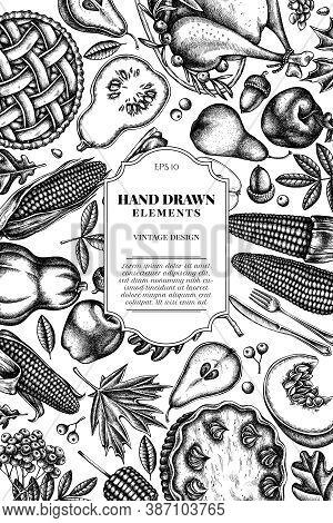 Card Design With Black And White Pumpkin, Fork, Knife, Pears, Turkey, Pumpkin Pie, Apple Pie, Corn,