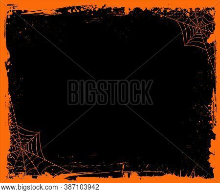 Vector Halloween Blank Medium Rectangle Banner Size Template Background With Orange Grunge Border
