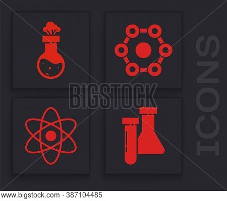 Set Test Tube And Flask Chemical, Test Tube And Flask Chemical, Chemical Formula And Atom Icon. Vect