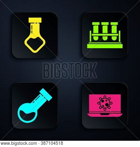 Set Bacteria On Laptop, Test Tube And Flask Chemical, Test Tube And Flask Chemical And Test Tube And