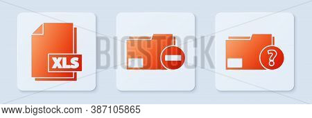 Set Document Folder With Minus, Xls File Document And Unknown Document Folder. White Square Button.