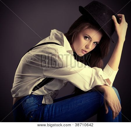 Shot of an attractive fashionable girl posing in studio.