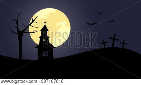 Dark Silhoutte Of Abandoned Church With Tree And Crosses At Moony Night