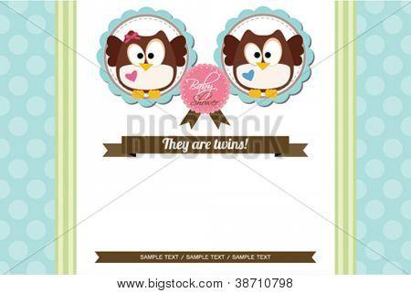 Twins Baby Boy And Girl Owl