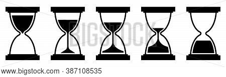 A Set Of Hourglasses. Icons Of Sand Clock. Sand Timer. Vector.