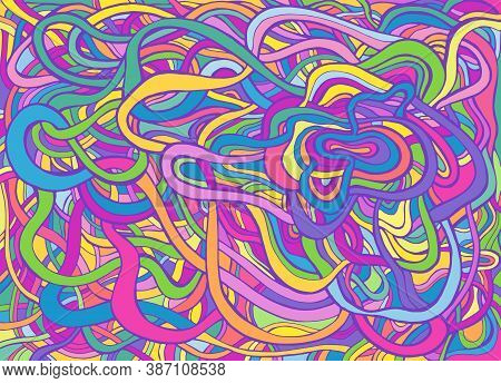 Multicolor Psychedelic Crazy Abstract Swirl Line Art, Pastel Neon Color.