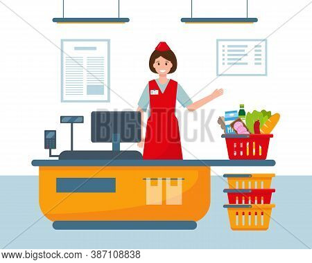 Female Cashier At Cash Register In Supermarket And Basket Full Of Food. Vector Illustration.