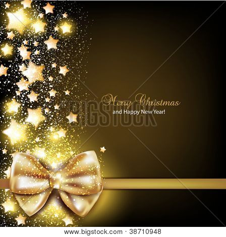Elegant Christmas background with golden bow. Vector background