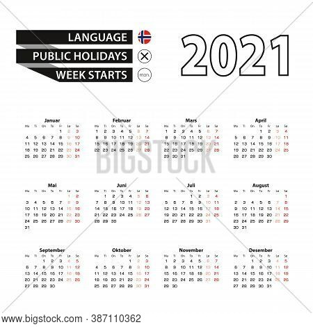 Calendar 2021 In Norwegian Language, Week Starts On Monday. Vector Calendar 2021 Year.