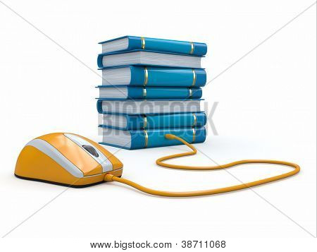 Internet education. Books and computer mouse. 3d