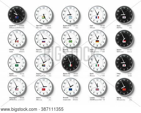 Wall Clocks With Flags And Time Of Group Of Twenty Countries. Time Zone Vector Illustration