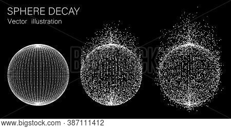 Set Of Vector Spheres. Disintegration Of The Sphere. Vector Illustration.
