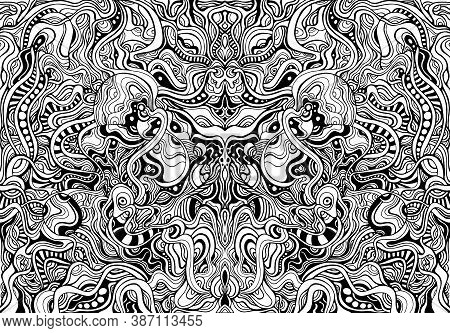 Black And White Shamanic Abstract Symmetrical Psychedelic Ornaments Coloring Page.