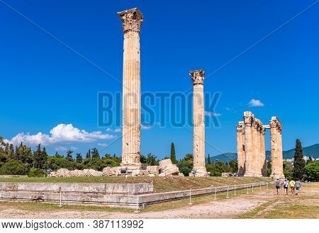Zeus Temple With Fallen Columns, Athens, Greece. It Is Tourist Attraction Of Athens. Scenic View Of