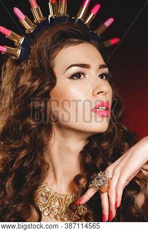Sensual. Portrait Of Beautiful Stylish Woman Isolated On Dark Studio Background.caucasian Model With